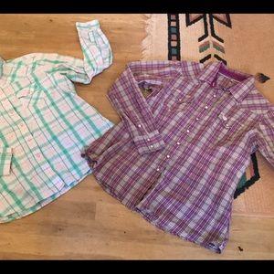 Rockies XXL and cinch L western snap plaid shirts